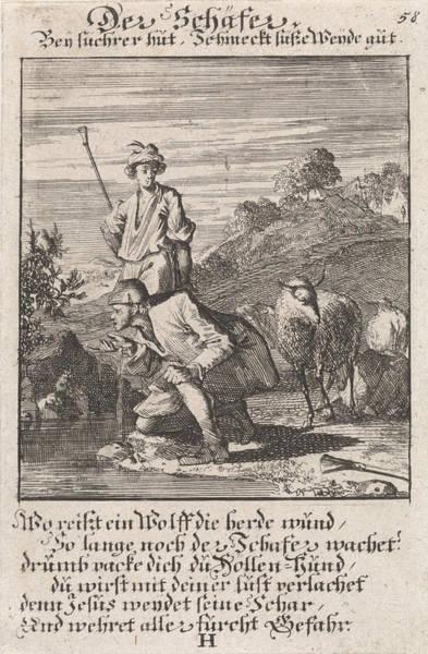 Herd Drawing - Shepherds, Caspar Luyken, Anonymous by Caspar Luyken And Anonymous