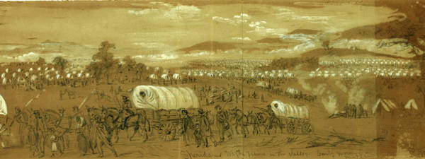 Mist Drawing - Sheridans Wagon Trains In The Valley by Quint Lox