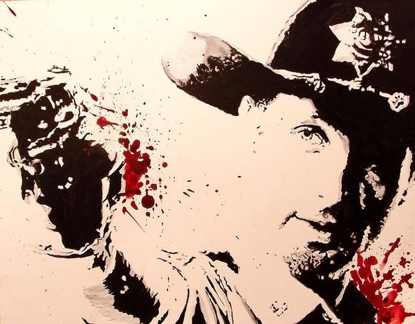 White Zombie Painting - Sheriff Rick Grimes  by Lauren Anne