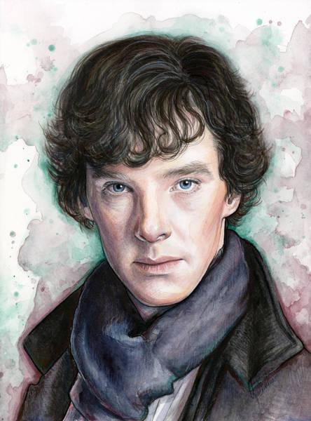 Mixed Media Painting - Sherlock Holmes Portrait Benedict Cumberbatch by Olga Shvartsur