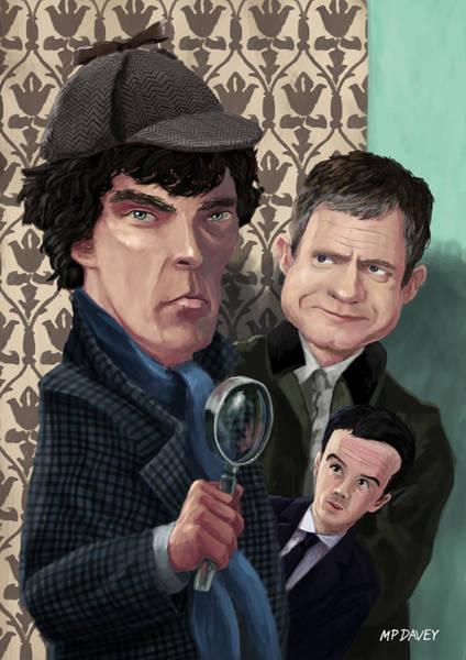 Digital Art - Sherlock Holmes Watson And Moriarty At 221b by Martin Davey