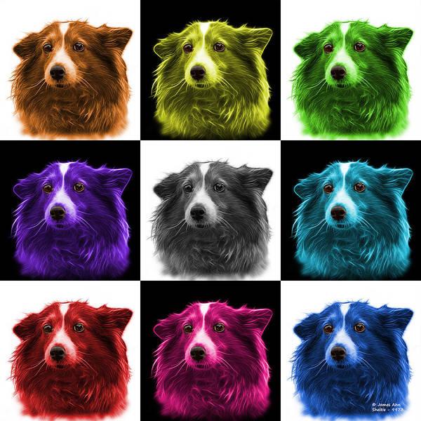 Mixed Media - Shetland Sheepdog Dog Art 9973 - V2 - M by James Ahn