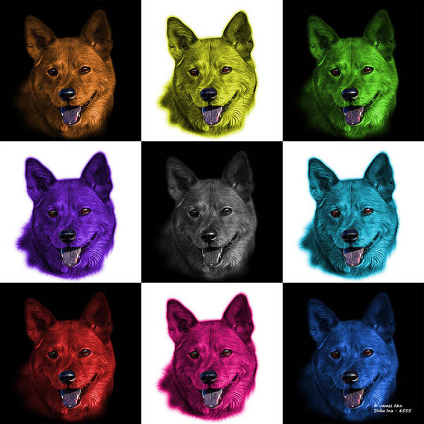Mixed Media - Shiba Inu Dog Art - 8555 - V1 - M by James Ahn