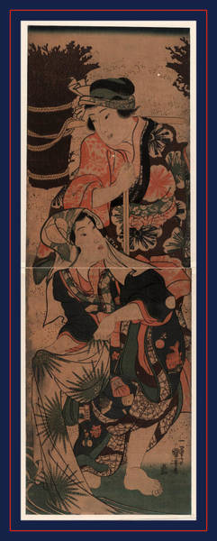1854 Drawing - Shibakari To Sentaku by Kuniyoshi, Utagawa (1798-1861), Japanese