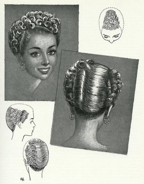Hairdo Drawing - Shingle Updo Combines Elegance by Mary Evans Picture Library
