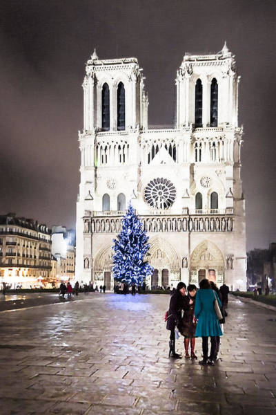 Photograph - Shining Star - Notre Dame De Paris At Night by Mark E Tisdale
