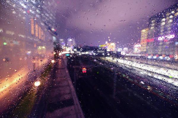 Rain Photograph - Shinjuku Station In Rain by Hidehiko Sakashita