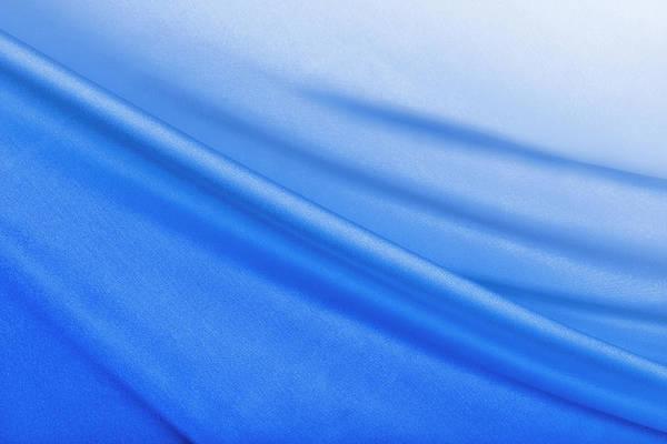 Blue Background Photograph - Shiny Blue Satin Background by Cinoby