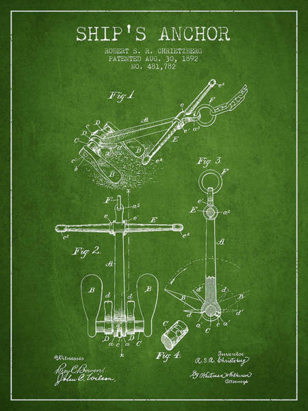 Anchor Digital Art - Ship Anchor Patent From 1892 - Green by Aged Pixel