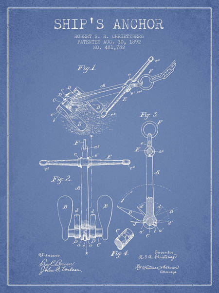 Anchor Digital Art - Ship Anchor Patent From 1892 - Light Blue by Aged Pixel