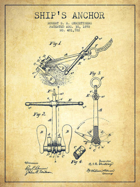 Anchor Digital Art - Ship Anchor Patent From 1892 - Vintage by Aged Pixel