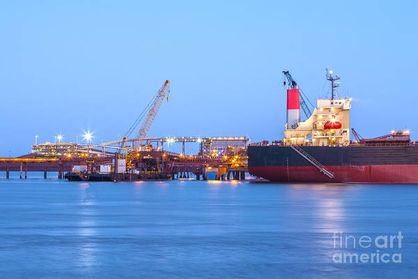 Cargo Ship Photograph - Ship And Port At Twilight by Colin and Linda McKie