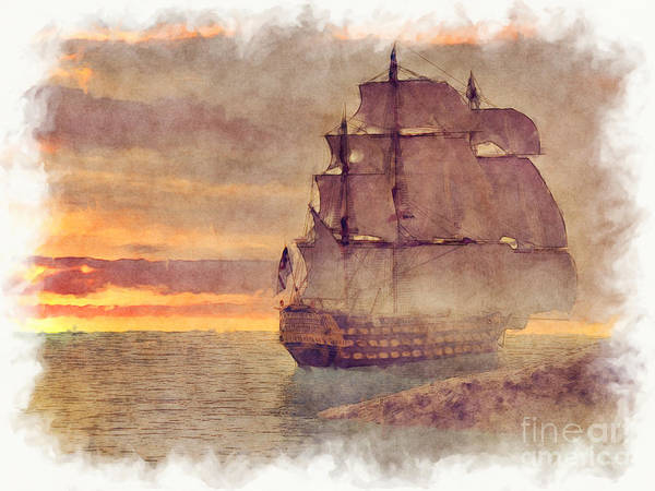 Painting - Ship At Sunset by Elle Arden Walby