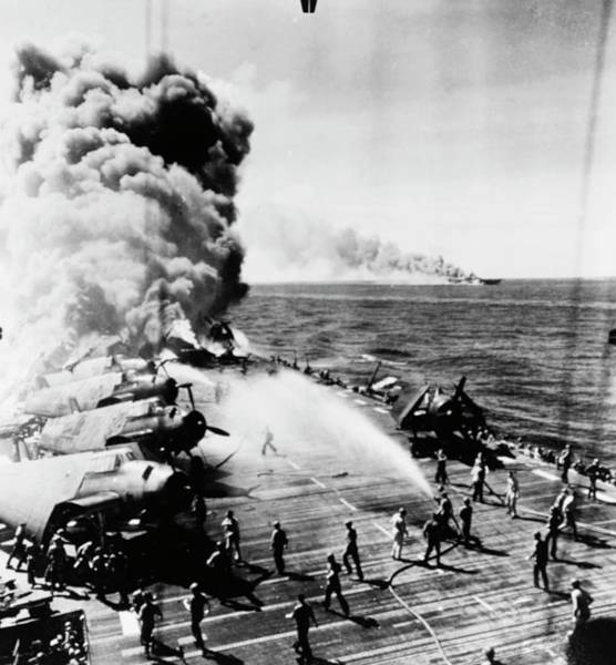 Flight Deck Photograph - Ship Firefighting In World War II by Us Navy/us National Archives/science Photo Library