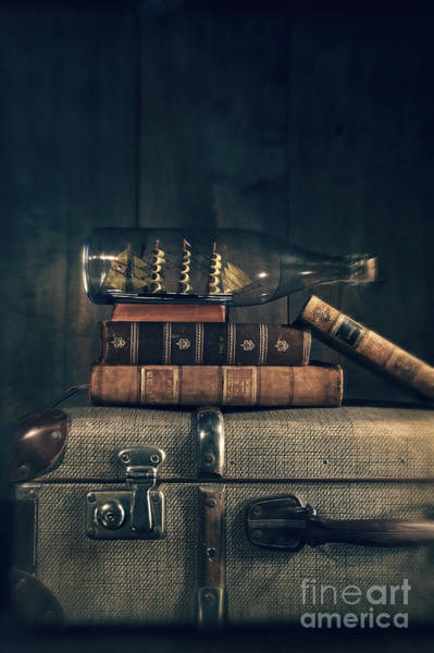 Photograph - Ship In A Bottle And Books On Suitscase by Sandra Cunningham