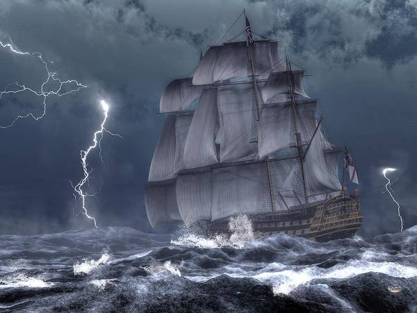 Digital Art - Ship In A Storm by Daniel Eskridge