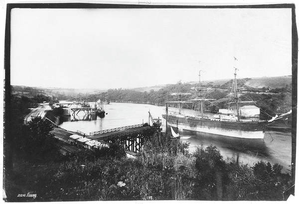 Wall Art - Photograph - Ship In Dock, In The Fowey Estuary by Mary Evans Picture Library