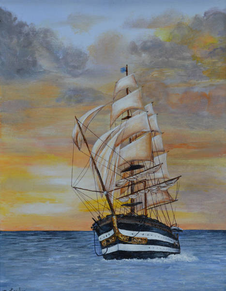 Painting - Ship On The High Seas by Nancy Lauby