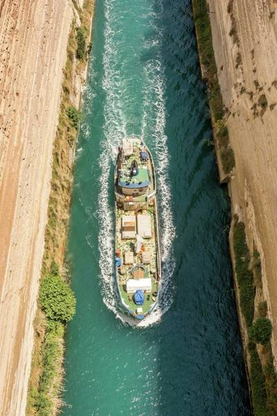Narrow Boat Wall Art - Photograph - Ship Passing Through The Corinth Canal by David Parker/science Photo Library