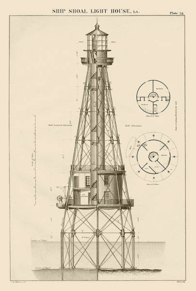 Screw Pile Wall Art - Drawing - Ship Shoal Lighthouse Drawing by Jerry McElroy