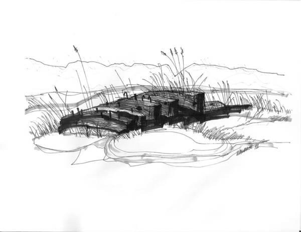 Drawing - Ship Wreck 2 by Richard Wambach
