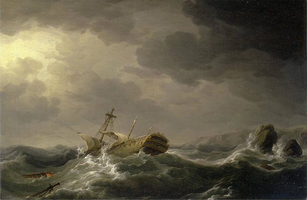 Wall Art - Painting - Ship Wrecked On A Rocky Coast Signed In Black Paint by Litz Collection