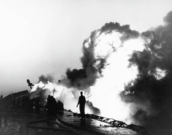 Flight Deck Photograph - Shipboard Fire In The Korean War by Us Navy/us National Archives/science Photo Library