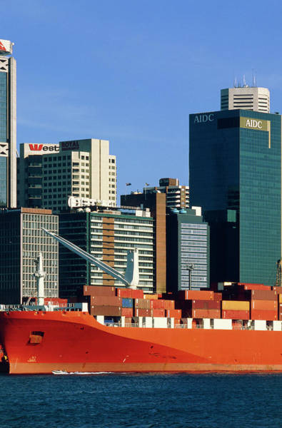 Freight Transport Wall Art - Photograph - Shipping Freight In Sydney Harbour. by Alex Bartel/science Photo Library