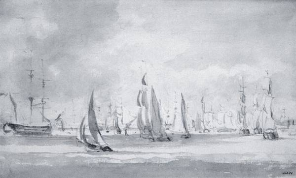 Pier Drawing - Shipping In The Thames by John Constable