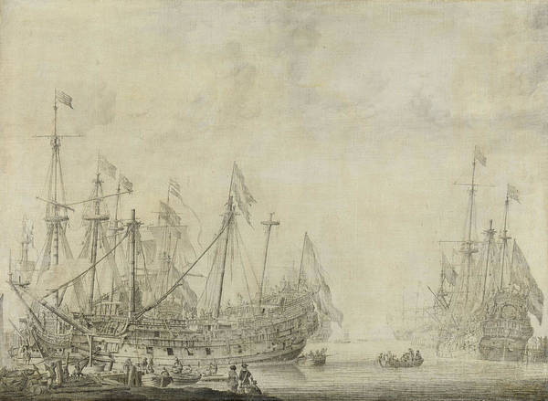 Wall Art - Drawing - Ships After The Battle, Willem Van De Velde by Litz Collection