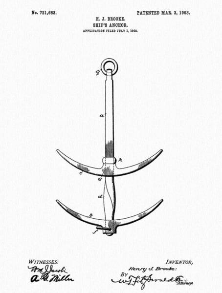 Drawing - Ship's Anchor by Dan Sproul