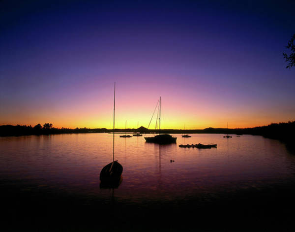 Noosa Wall Art - Photograph - Ships In Harbour At Sunset by Richard I'anson
