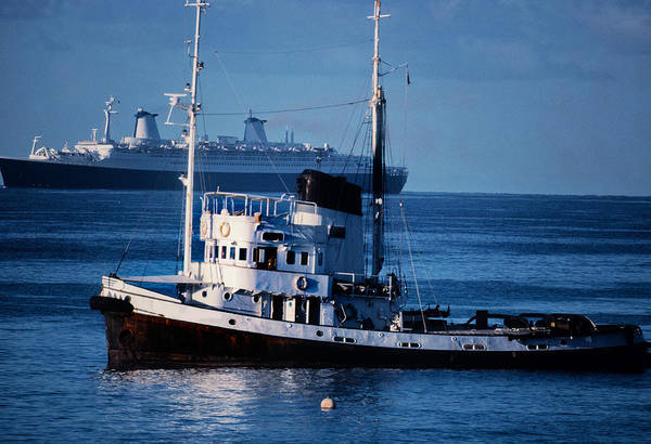 Tug Boat Photograph - Ships In The Sea, Usa by Panoramic Images