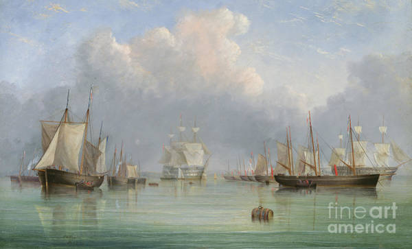 Floating Painting - Ships Off Ryde by Arthur Wellington Fowles