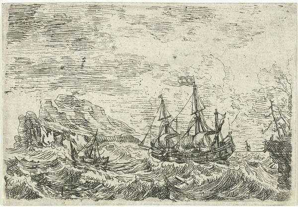 Stormy Drawing - Ships On A Stormy Sea, Bonaventura Peeters by Bonaventura Peeters (i)