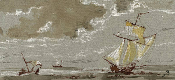 Wall Art - Painting - Ships On Storm by Juan  Bosco
