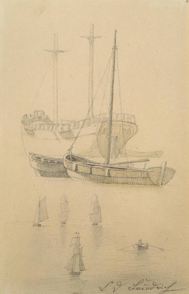 Pier Drawing - Ships  by Caspar David Friedrich