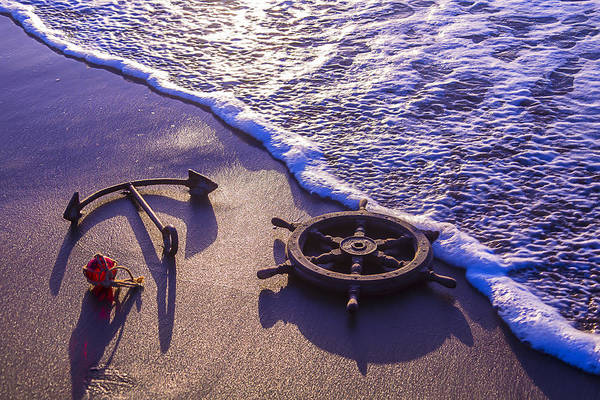 Water Wheel Wall Art - Photograph - Ship's Wheel Ocean Beach by Garry Gay