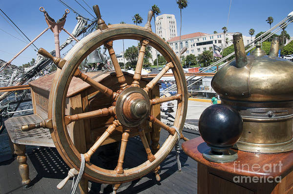 Photograph - Ships Wheel On Sailing Ship by Brenda Kean
