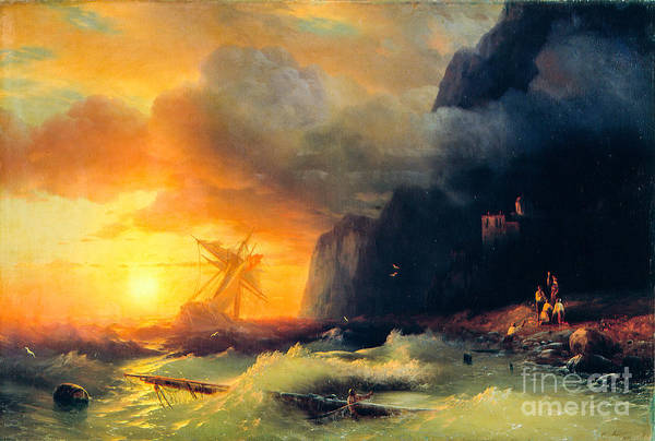 Wall Art - Painting - Shipwreck At Mount Athos by Viktor Birkus