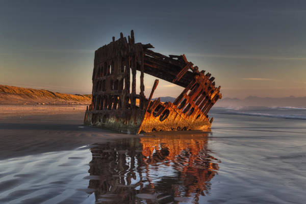 Photograph - Shipwreck At Sunset by Mark Kiver