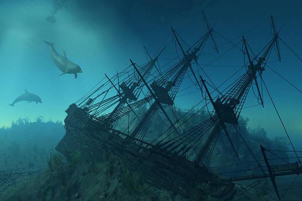 Shipwreck Digital Art - Shipwreck Beneath The Sea by Linda Bucklin
