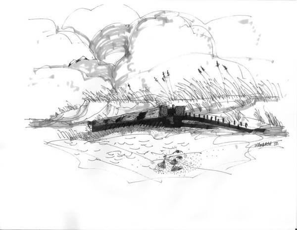 Drawing - Shipwreck Exposed 1 by Richard Wambach