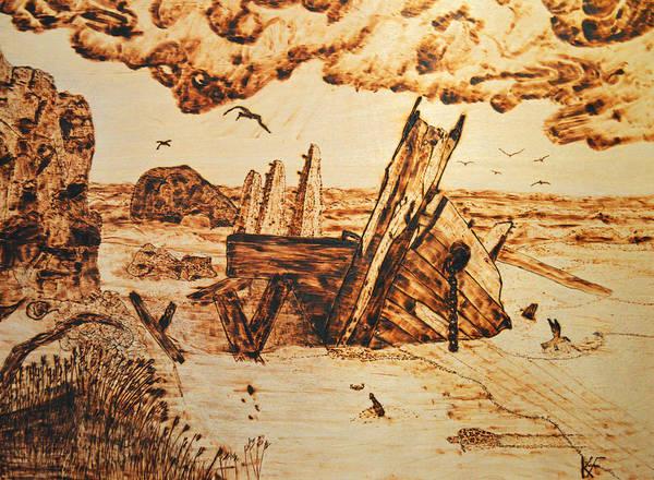 Jetti Wall Art - Pyrography - Shipwreck by Ken Figurski