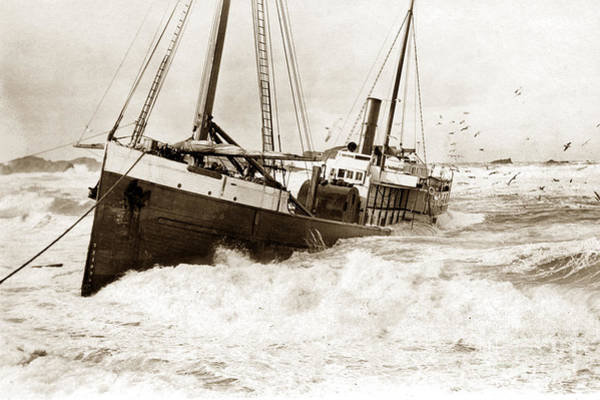 Photograph - Shipwreck Of Fifield Steam Schooner Bandon Oregon February 21 1916 by California Views Archives Mr Pat Hathaway Archives