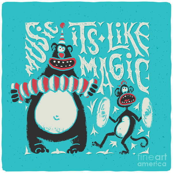 Magic Wall Art - Digital Art - Shirt Print With Band Of Circus Monkey by Gleb Guralnyk