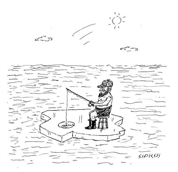 Wall Art - Drawing - Shirtless Man Ice Fishing by David Sipress