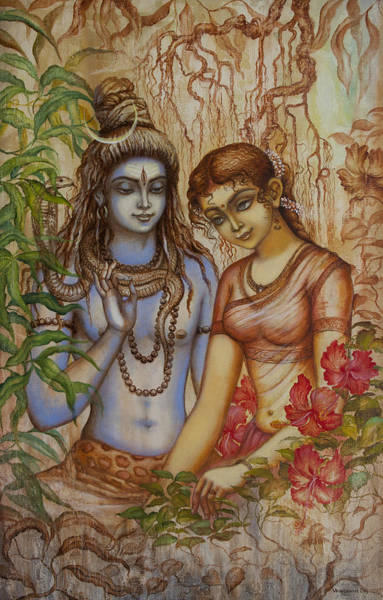 Wall Art - Painting - Shiva And Parvati by Vrindavan Das