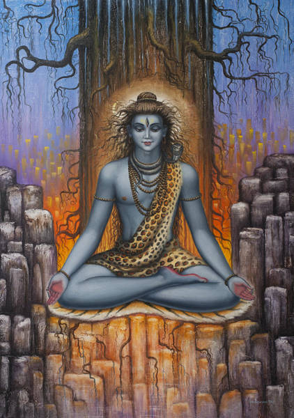 Wall Art - Painting - Shiva Meditation by Vrindavan Das