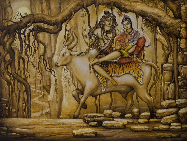 Wall Art - Painting - Shiva Parvati Ganesha by Vrindavan Das